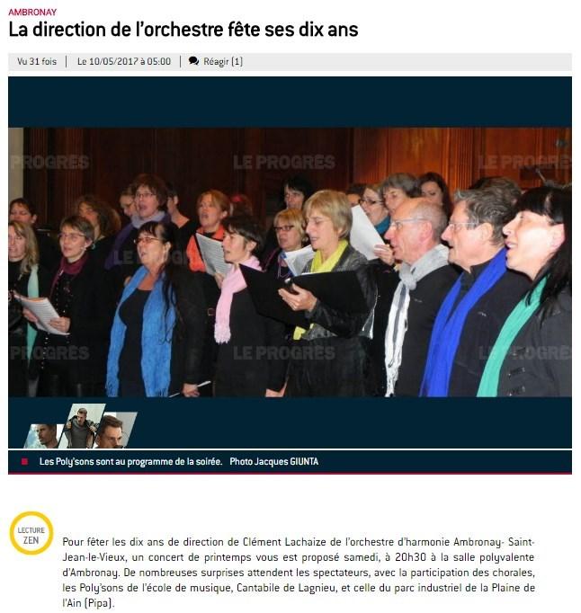 Annonce concert 13 mai 2017 Le Progrès